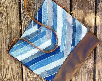 Denim Handbag With Chevron and Basket Weave and Crossbody Vintage Leather Belt Strap