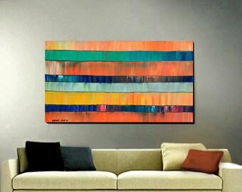 ORIGINAL ABSTRACT Painting Large 24 x 48 Impasto Ready to Hang Art By Thomas John