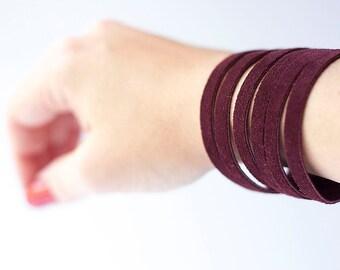 Leather Bracelet / Original Sliced Cuff / Sangria Suede