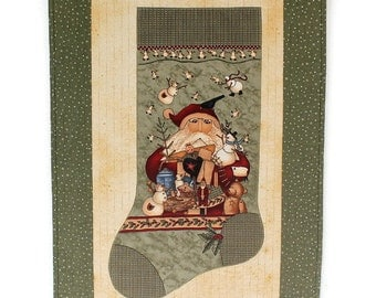 Christmas Stocking Wall Hanging, Quilted Door Banner, Santa Wall Decor, Green Wall Quilt, Whimsical Wall Decor, Quiltsy Handmade