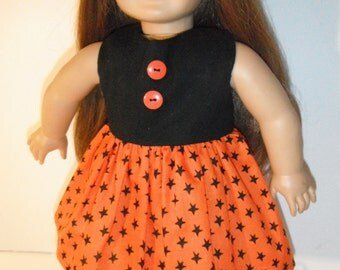 Halloween 18 Inch Doll Dress in Orange and Black
