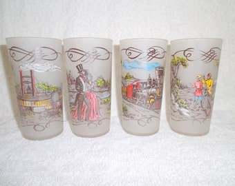 4 1950s Currier & Ives Frosted Glasses