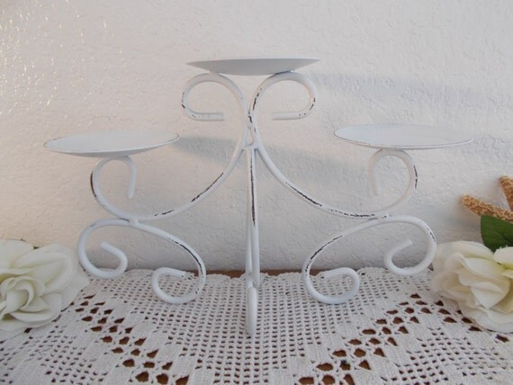White Shabby Chic Wedding Unity Candle Holder Up Cycled Vintage Pillar Candelabra Romantic Beach Cottage French Country Farmhouse Home Decor