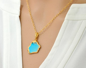 Turquoise necklace - Blue Stone Necklace, Beach jewelry. Turquoise gold Necklace