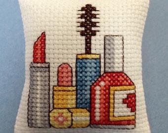 Cross Stitch Makeup Pincushion Pin Cushion Pillow Bowl Filler