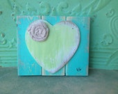 Rustic Soft Apple and Sea Green Heart Hanger, Home Decor Heart Accent Sign, Gallery Wall Signs