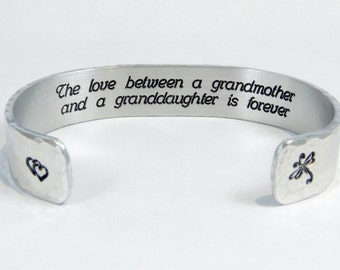 "Grandmother / Granddaughter Gift - ""The love between a grandmother and a granddaughter is forever""  Hidden message 1/2"" cuff bracelet"