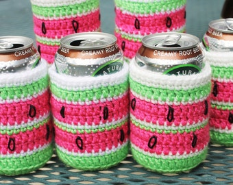 Watermelon Cozies Price is for 2 cozies Can and bottle Crochet