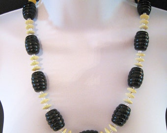 Black And Cream Ivory Necklace - Vintage Lucite Beads - Amber Jade Rondeles - Sterling Clasp - #104