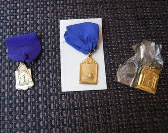 Swimming / Swimmers medal/medallion with ribbon and pinbacks X 3 1960's