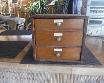 Vintage Handmade Wooden Tool Box with drawers
