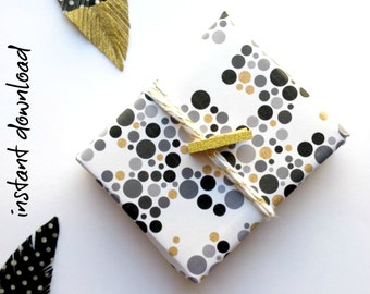Wrapping Paper PRINTABLE - Monochrome Confetti || Instant Download Monochrome Wrap