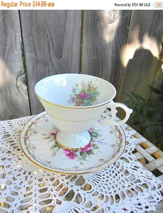 ON SALE China Cup and Saucer, Mis-Match Eclectic Rose and Floral Design Teacup and Saucer, Upcycle Votive/Tealight Holder, Cottage Style Dec
