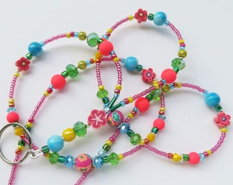 SUMMER FIESTA- Beaded ID Lanyard Badge Holder- Polymer Clay, Matte Beads, and Sparkling Crystals- (Necklace Clasp)