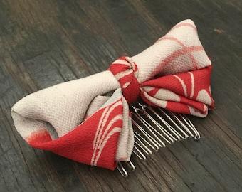 kimono bow comb Antique SILK fabric bow Vermillion Red