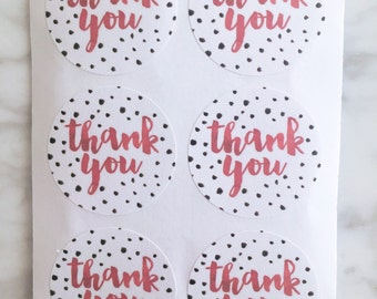 Dotted Thank you label sticker - 24 pieces - 3.8cm round enveolpe seal - wedding invitation