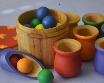 Ultra Deluxe Balls and Cups Montessori Sorting Counting Matching Wooden Sensory Toy  21 Pc Set