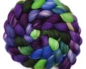 Hand painted roving - Superwash Merino Wool / Nylon  85/15% spinning fiber - 4.1 ounces - Plantation Belle 2