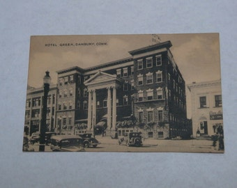 Vintage Postcards DANBURY Conn. HOTEL Green and Main Street FREE Shipping