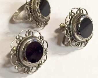 Vintage Sterling Silver with Black Onyx Center Ring with Screw Back Earrings