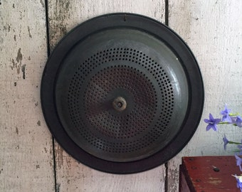 Primitive Tin Draining Cover / Lid - Strainer Lid - Pot Lid -  Wooden Knob