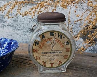 Vintage Nash's Happy Time Horseradish Style Mustard Clock Glass Jar  / Bank - Nash / Underwood Inc. Chicago - Original Label