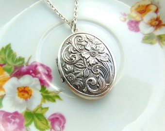 Locket Raised Floral Design Antique Silver Handcrafted by TheTown Tinker