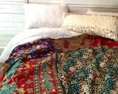 Kantha Quilt, Boho Bedding, Vintage, Sari Quilt, Bohemian Bedding, Indian Blanket, Very Colorful