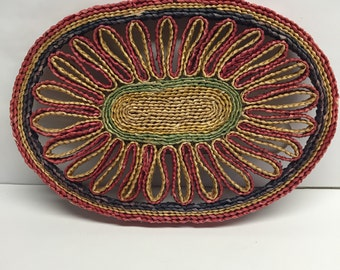 Vintage Ratten Trivet Red, Green, Yellow and Navy Blue Spiral Border 8 x 5.5