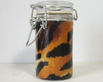 Small Glass Stash Jar : Latch-Top Jar - Tiger Stripes