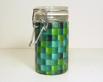 Small Glass Stash Jar : Latch Top Jar - Green Blocks, Pixel