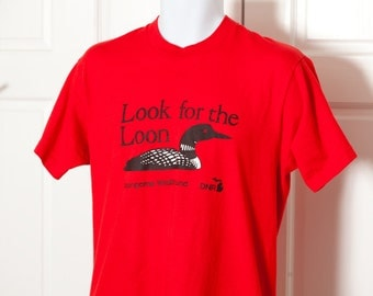 80s 90s Look For The Loon Red Tshirt - Michigan DNR - L