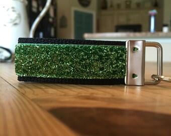 Green Sparkle Velvet Keychain Fob