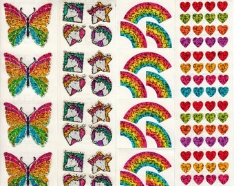 ON SALE Unicorns and Rainbows - Lot of Four Vintage Hambly Glitter Sticker Strips - Butterfly Heart - Scrapbook Collage