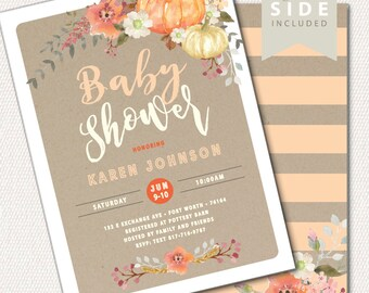 Pumpkin Fall Baby Shower Invitation, Our Little Pumpkin, Fall Baby Shower Invite