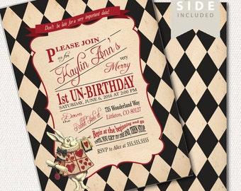 Alice in Wonderland  Invitation / Birthday / Mad Hatter Tea Party / Mad Tea - Printable Birthday Party Invitation - Black