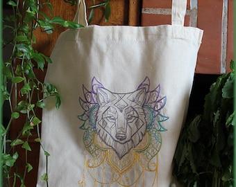 Tote Bag the old wolf - occult,pagan,magic,shaman,dear,mandala,native,embroidery