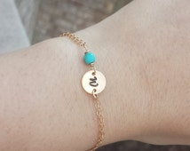 initial bracelet,birthstone initial jewelry,monogram jewelry,birthday,bridesmaid gifts,wedding party gifts,Gold Small Disc Bracelet