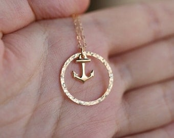 Karma anchor pendant necklace,karma circle necklace,navy wife gift,Navy anchor strength,Friendship gift,Sister gift,anchor charm,Karma charm