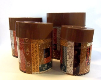 Vintage 60's Metal Patchwork Kitchen Canisters