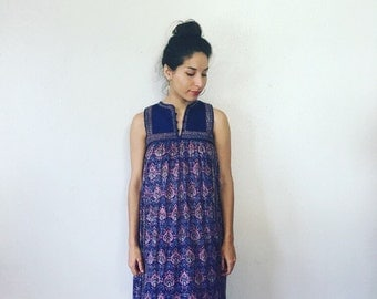 Vintage 1970s Boho Dress Made in India Gauze Floral Hippie Festival Dress Small