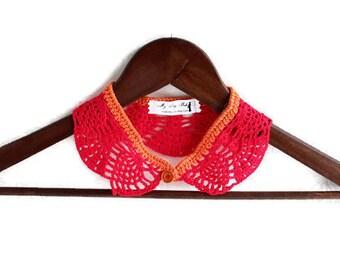 Crochet Necklace - Crochet Collar - Red Collar - Detachable Collar - Statement Necklace - Vegan Necklace - Vegan Collar - Red Necklace