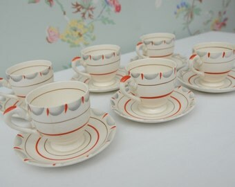 Myott Pottery Hand Painted Coffee Cups and Saucers