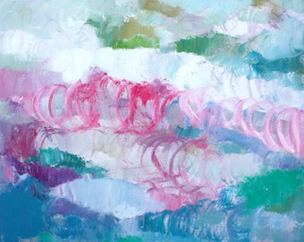 Original abstract modern painting oil on canvas small positive colours pink blue white