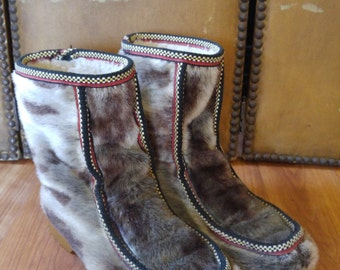 70s faux seal fur Mukluk boots with ethnic trim