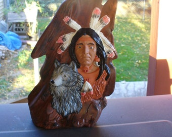 Wooden Wolf with Indian