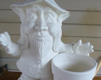 Ceramic Bisque Gnome with a Pot