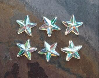 Crystal AB Preciosa Rhinestone Stars 10mm Flatback Embellishments New (6)