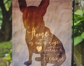 French Bulldog Yard Flag | Home with a Frenchie |  Yard Lawn Decor | Garden or Large House Flag | Size via Dropdown | Convo for Custom