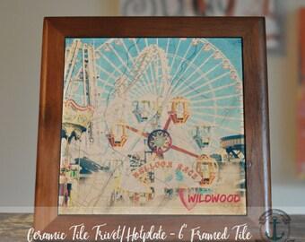 "Trivet Hot Plate: Wildwood Vintage Boardwalk | Jersey Shore Decor | 6"" Ceramic Tile Trivet Kitchen Accessory"